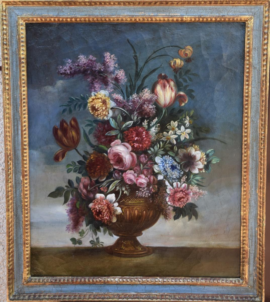 Bouquet de fleurs dans un vase medicis,école italienne ,XIXè