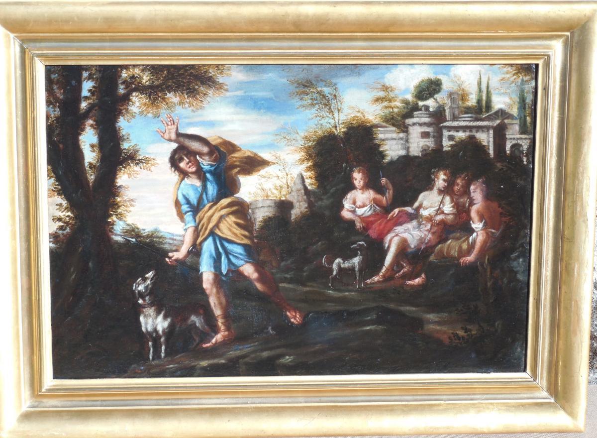 """Huile sur toile,""""scène Antique """" Ecole Italienne"""