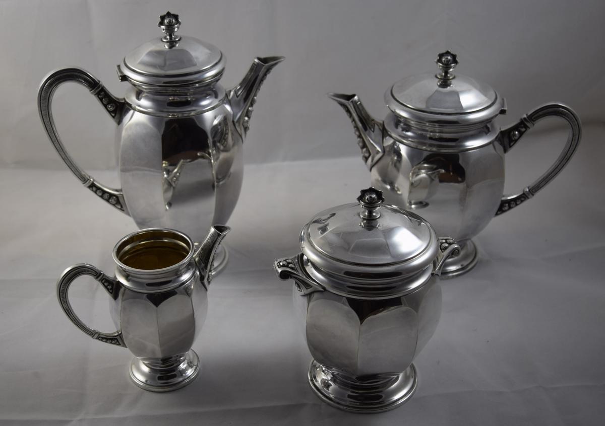 Service à thé et café en métal argenté ,orfèvre Digny,style art déco