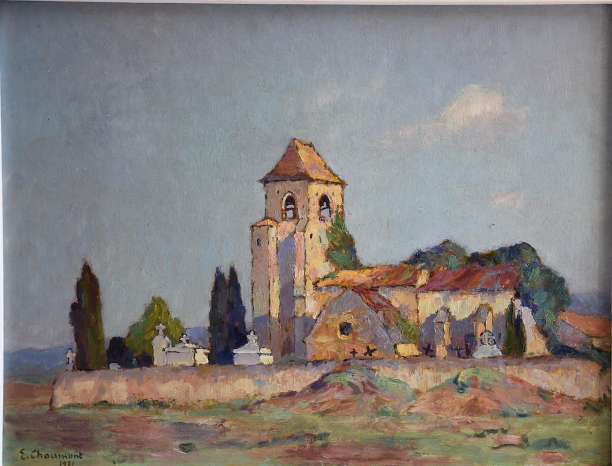 Emile Chaumont,église de Cabans en Périgord ,Huile/carton