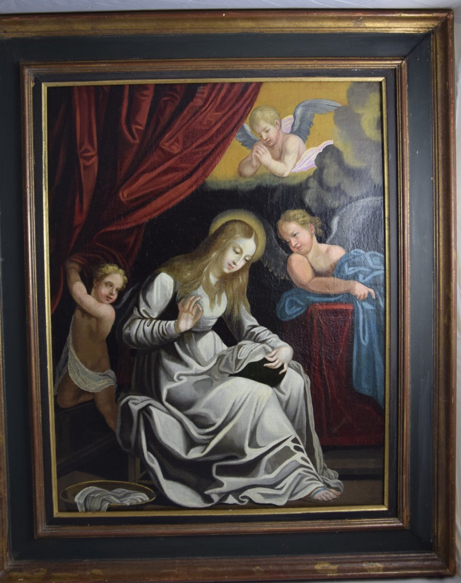 Virgin Embroidering, After Guido Reni, Oil On Canvas, 17 Th-photo-4