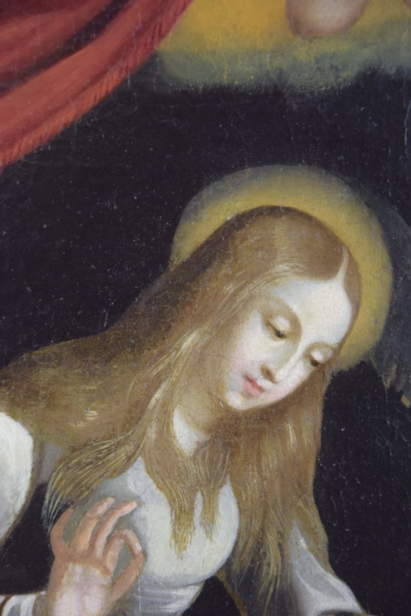 Virgin Embroidering, After Guido Reni, Oil On Canvas, 17 Th-photo-2