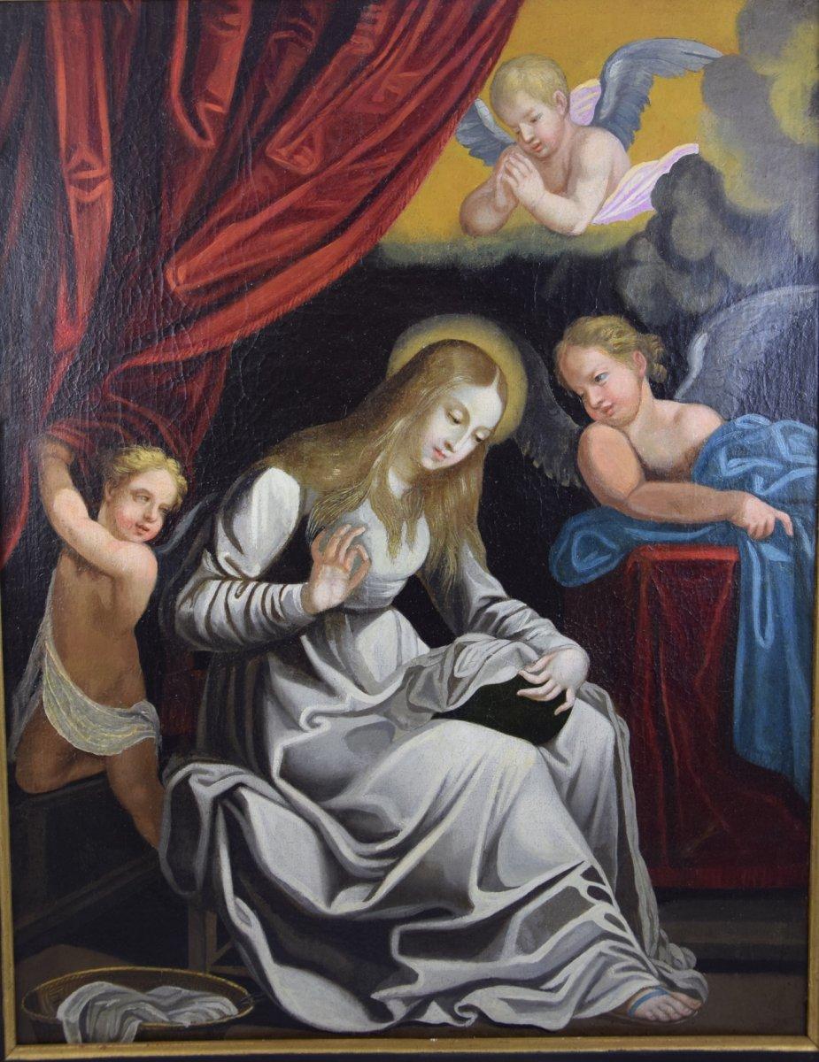 Vierge  brodant , d'après Guido Réni , huile sur toile, 17 ième