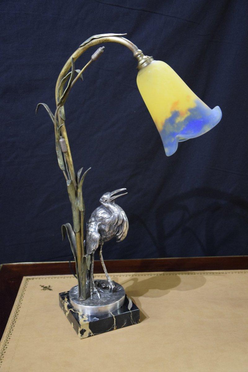Lampe au marabout ,bronze signé E.Urbain, époque Art Nouveau .