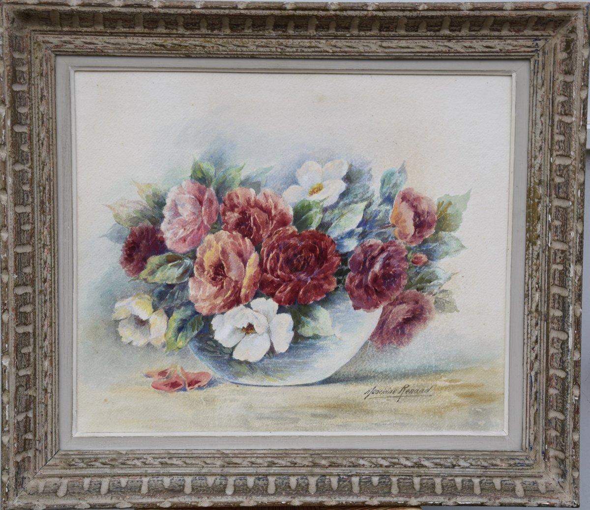 Madeleine Renaud( 1900-1994) bouquet de fleurs , Aquarelle
