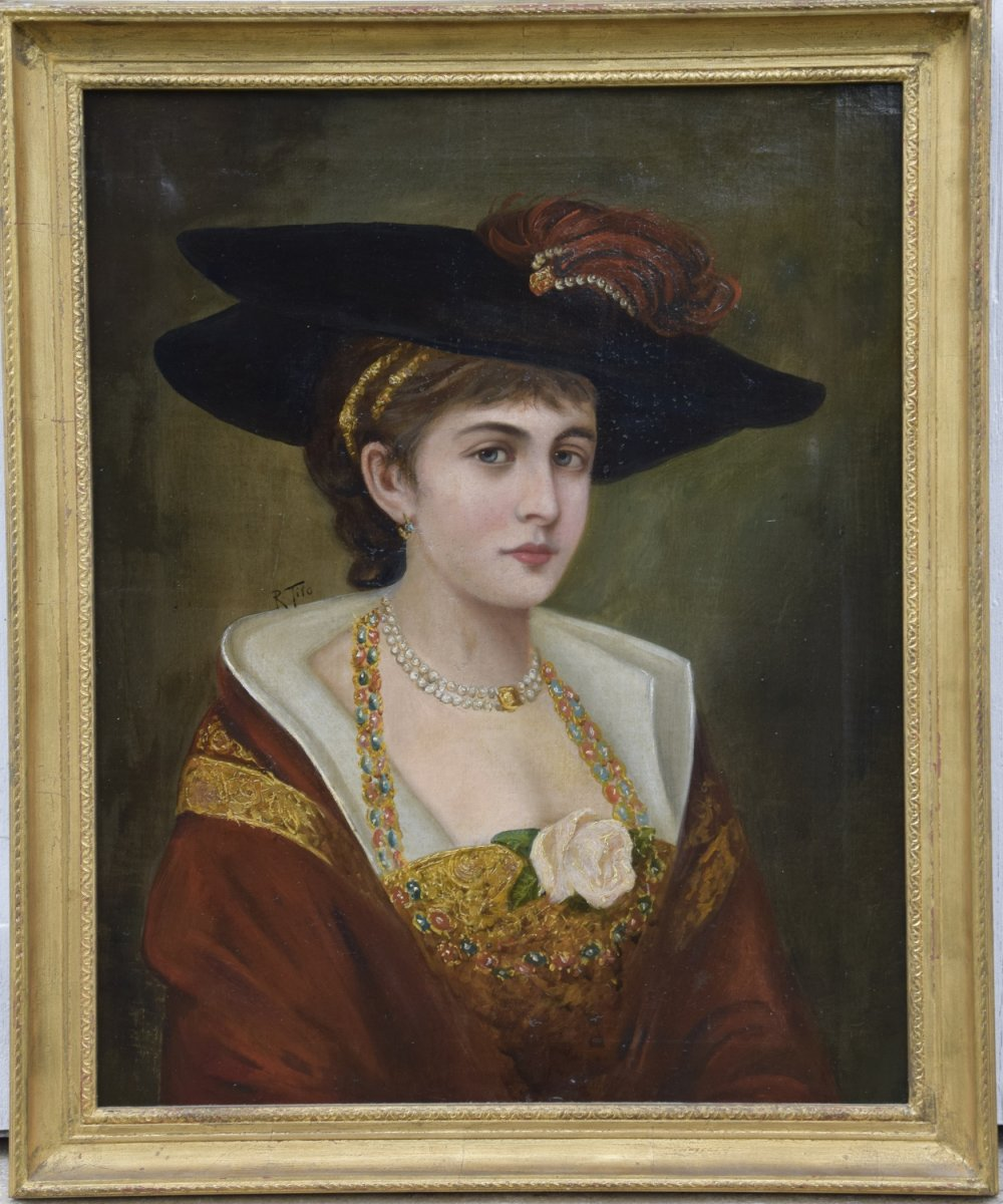 Portrait Of A Young Woman With A White Rose, Oil On Canvas.
