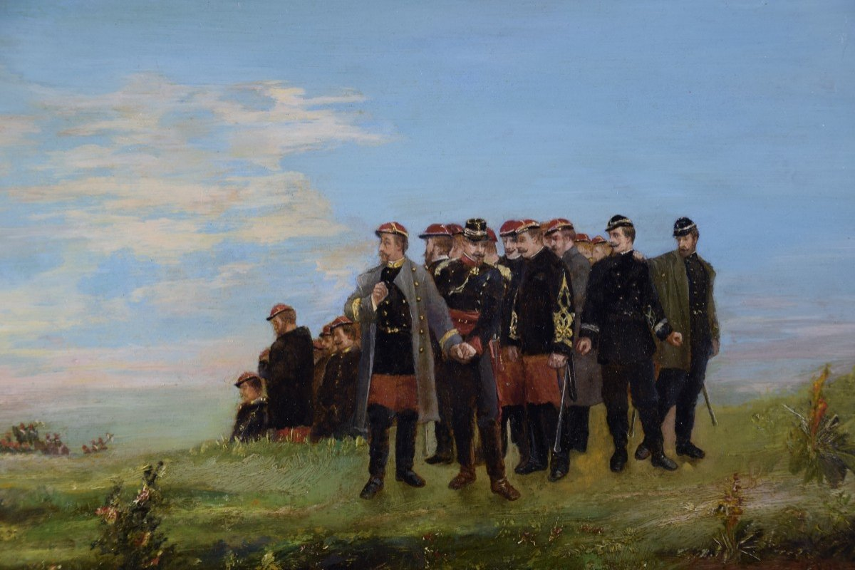 Jean Alexandre Couder, The Farewells Of General Bazaine, Metz 1870, Oil On Panel-photo-2