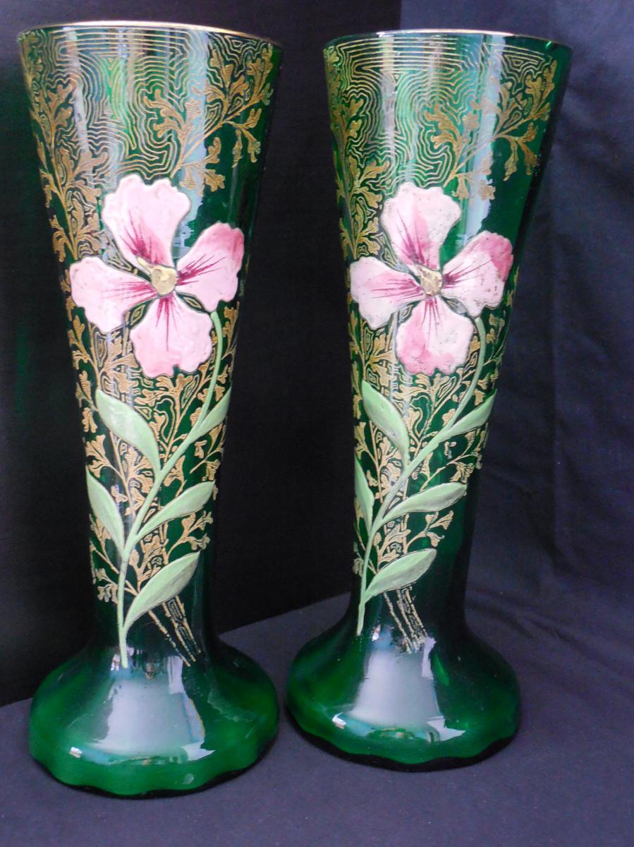 paire de vases maill s legras vases et objets en verre. Black Bedroom Furniture Sets. Home Design Ideas