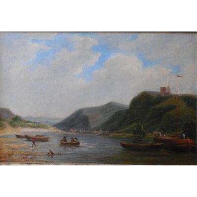 Petit Port Fluvial , Ecole Française , Huile sur panneau, XIXème