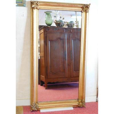 Miroir rectangulaire en bois  et stuc doré , époque NIII