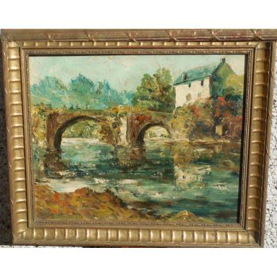 Paysage Au Pont , Hsp Signée P. Arnaud