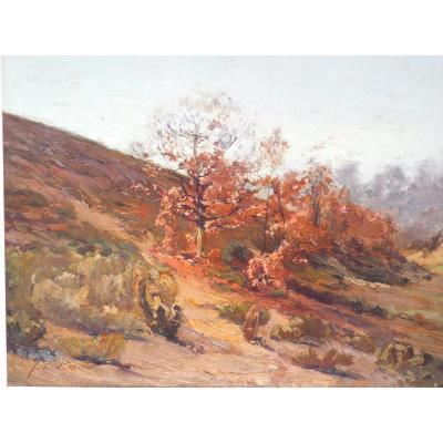 Paysage d'automne,Huile sur panneau de Jean Louis DANIEL,