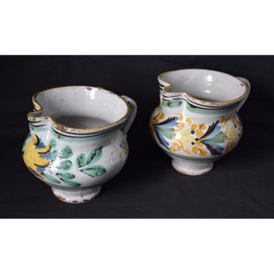 Deux Pichets,céramique de Talavera ,Espagne 18ème et 19ème