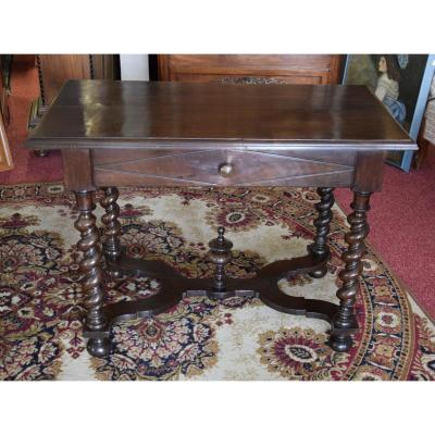 Table Bureau Louis XIII En Noyer