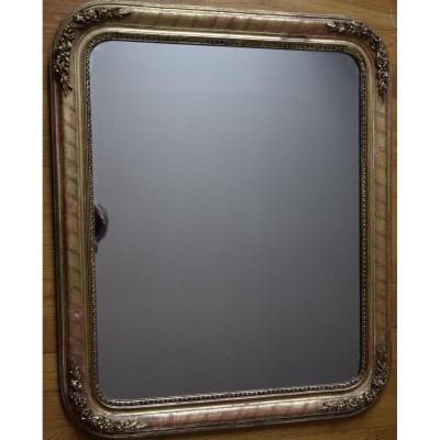 Small Louis Philippe Mirror In Golden Wood, H = 82,5cm