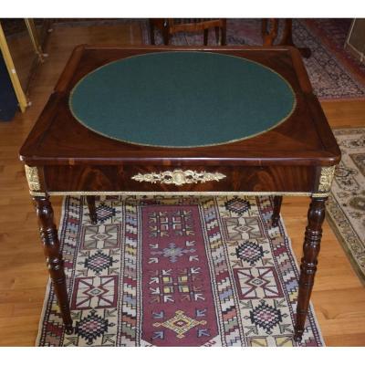 Cuba Flamed Mahogany Game Table, Restoration Period