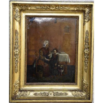 Huile Sur Cuir , Scène d'Intérieur Animée, XIXème