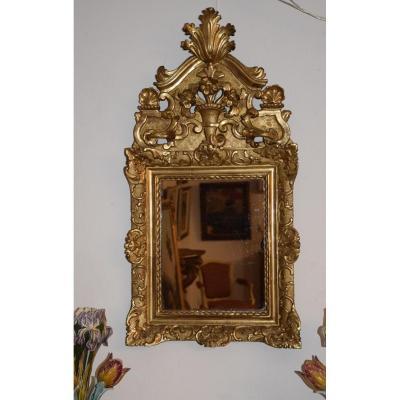 Miroir Régence En Bois Sculpté Et Doré , XVIIIème