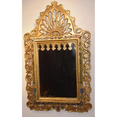 Moorish Style Mirror, Golden Wood And Polychrome, Nineteenth
