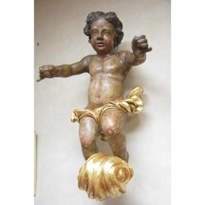 Ange,Putto, en bois doré et polychrome,sur son nuage , Fin XVIIème