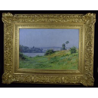 """Adrien Sauzay(1841-1928),""""Bord de rivière"""",huile sur panneau"""