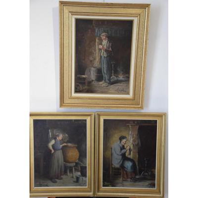 Camille Merlaud ( 1877-1956) 3 scènes de vie en Périgord