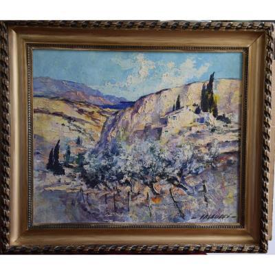 Paysage Méditeranéen,Corse, huile sur toile de R. Falcucci