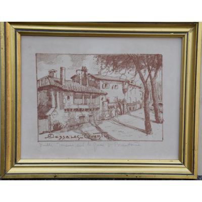R. Dessales-Quentin,dessin à la sanguine:maisons à Brantôme