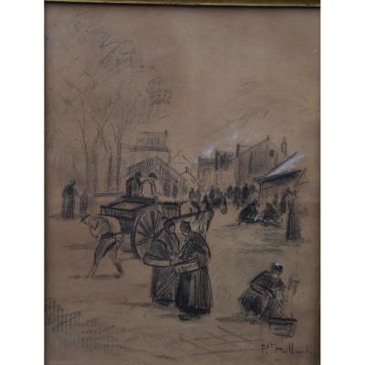 Fernand Maillaud (1863-1948)scène de marché,Ecole de Crozant