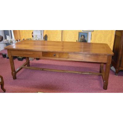 Grande table de ferme en merisier , longueur= 2,22 m , XIXèmme
