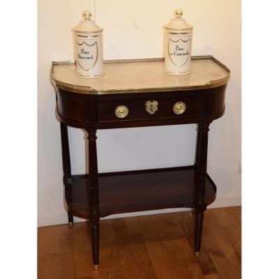 Console demi lune en acajou et placage d'acajou, Louis XVI .