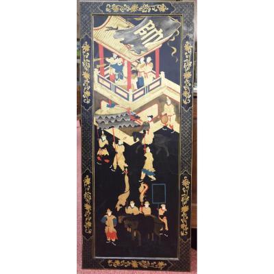Panneau aux chinoiseries en bois laqué,travail français .