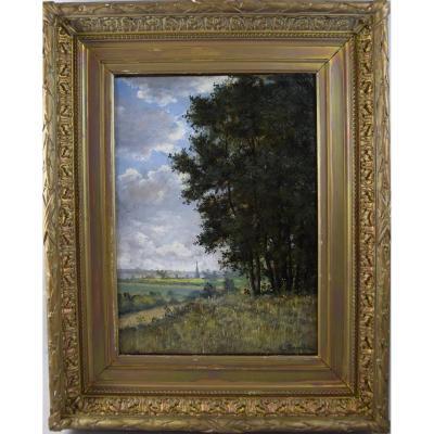 """Huile sur toile """"paysage à la rivière"""" signé René Gourdon,XIXème"""