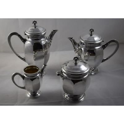 Tea And Coffee Service Silver Metal, Goldsmith Digny, Art Deco Style