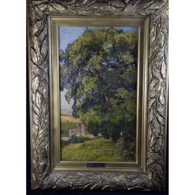 Louis Cabié ,huile sur toile ,paysage à l'arbre