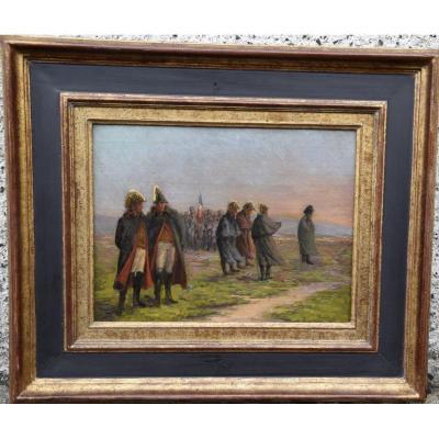 Napoléon sur le champ de bataille , Huile sur panneau ,école française du XIXème .