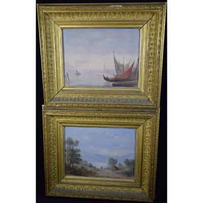 Pair Of Oils On Panel, Landscapes Of Italy, XIXth