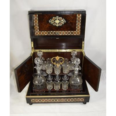 Liquor Cabinet In Cedar Magnifying Glass And Mother-of-pearl Marquetry, Epoque Napoléon III