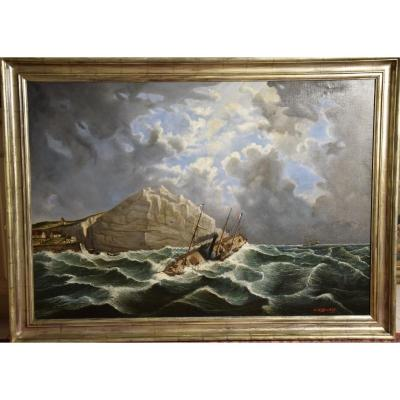 Great Marine, Oil On Canvas Signed Ch Mittler And Dated 1886