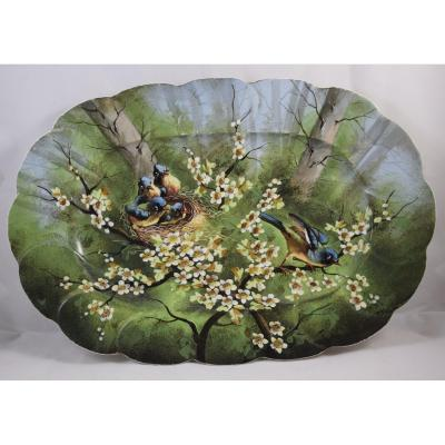 Manufacture Pouyat, Large Porcelain Dish Limoges, Decor With Birds, Nineteenth