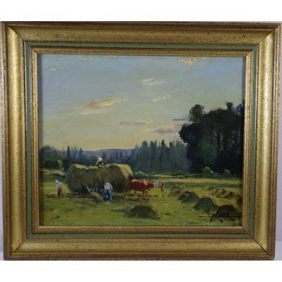 Camille Merlaud  ( 1870-1956) ,scène de  fenaison en Périgord