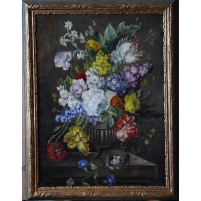 Bouquet de fleurs  et nid sur un entablement ,huile sur toile , XIXème