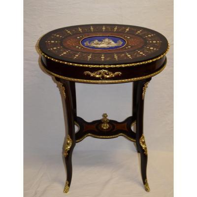 Guéridon avec plaque de porcelaine ,Napoléon III,, XIXème