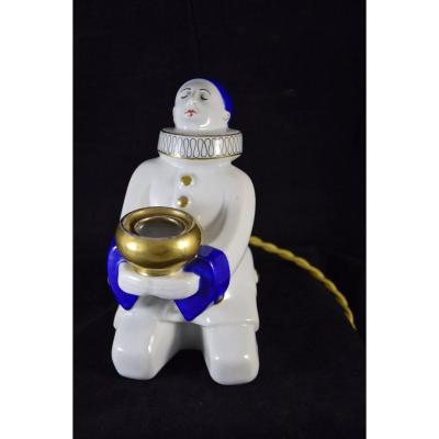 Veilleuse ,brûle-parfum  en porcelaine , Pierrot, Art Déco
