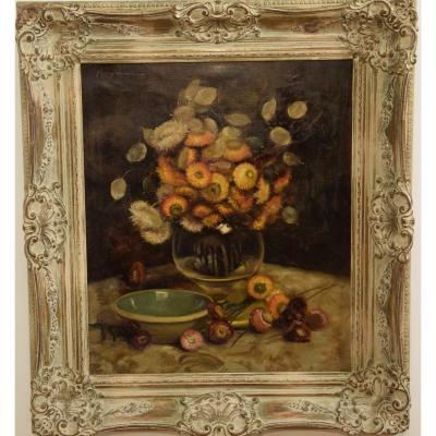 Bouquet de fleurs séchées , huile sur toile signée  M.Vonne