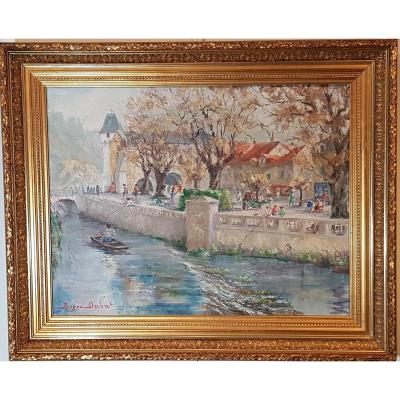 Vue de Brantôme en Périgord,huile sur toile signée Roger Dubut