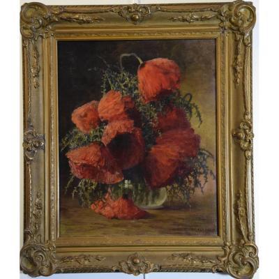 Max  Streckenbach (1865-1936) Bouquet de pavots dans un vase en verre