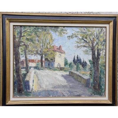 """Gaston Pomerat , """"Paysage au pont """" Huile sur toile"""