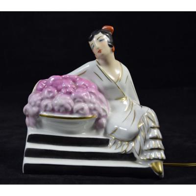 Veilleuse Art Déco en porcelaine , Halga Paris