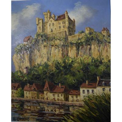 Chateau de Beynac en Dordogne,Huile sur toile signée A.de Chanteloup
